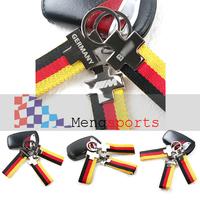 Black Yellow Germany Flag Canvas Metal Keyring Key Chain M logo