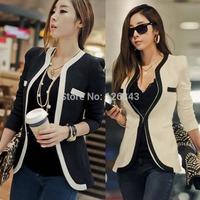 Fashion Womens White Black Colors Suit Blazer Coat Slim Jacket Outerwear S-XL Free Shipping 1pcs/lot