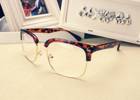 half-frame Glasses Man Resistance Eyeglasses Glasses Women Fashion Computer Goggles 2014 Eye Glasses Flat glasses round  9121