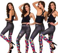 New Arrival Legings  2014 Summer Galaxy Tetris Printed Leggings Sexy Girl Leggins Wholesale Good Quality Jegging Free Shipping