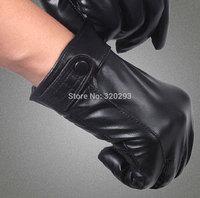 Fashion Men Goatskin leather gloves 1 Button Black Winter Warm Leather Gloves