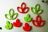 Leaves shaped wall stickers 3D home decoration sticker wall decoration room decor 6pcs/set,2sets/lot free shipping