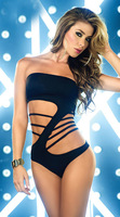 15% Off Sexy woman strapless hollow out deep v halter one peice teddy lingerie fancy costume 2014 New night KTV club wear black