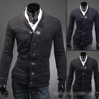Hot Sale  New Mens Autumn And Winter Fashion Cotton Slim Fit V Neck Basic Cardigan Sweater 5387
