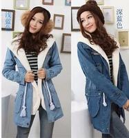 2014 New Winter Female Lapel Lamb Warm Jacket Women of Long Section,  Stylish and Popular Cowboy Cotton Overcoat