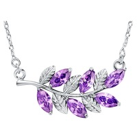 60% OFF Purple Created Diamond Tree Leaves Necklace Fashion Choker for Women 2014 Dress Accessories Wholesale Ulove N1011