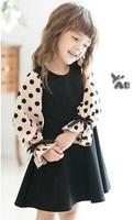 5pieces/lot, Autumn Chiffon Dot Long Sleeve Cotton Older Girl Dress Children Dress,  A-bg508