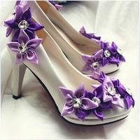 New arrival elegant purple high heels purple wedding shoes bridal heels purple flower pumps