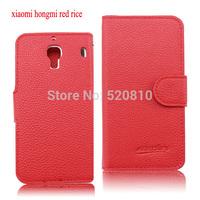 High quality pu leather case for xiaomi hongmi red rice redmi flip case cover +beautiful gifts