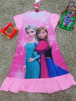 Best Selling ! New Frozen Nightgowns Short Sleeve Elsa Anna Frozen Pajamadress Sleepwear  Red Pink Purple Free Shipping