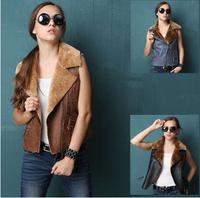 winter fleece coat vest  women fashion winter outwear Slim vest suedette leather vest free shipping