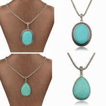 Fashion Neckalces For Women 2014 Waterdrop Blue Oval Teardrop Statement Necklace Link Chain Charm Long Necklaces Pendants(China (Mainland))