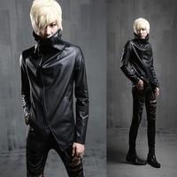 Free shipping! Slim newest nightclub hairstylist costumes fashion personality leather jacket