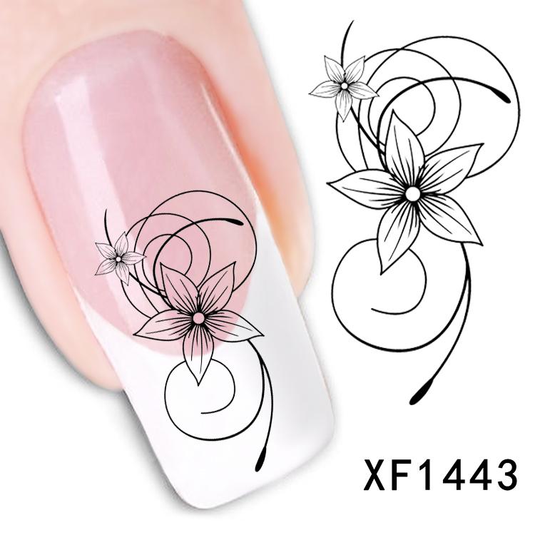 Fashion beautiful DIY Japanese watermark cute black flower 3D Design Tip Nail Art Nail Sticker Nail Decal Manicure nail tools(China (Mainland))
