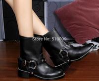 2014 Autumn Fashion Genuine Leather Ankle Boots Women Designer Metal Belt Buckle Martin Boots