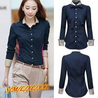 Plus Size XXL New 2014 OL Shirts Women Long Sleeve Blue Blouses Blusas Femininas Slim Fitness Cotton Buttons Design Camisas