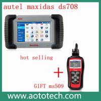 Car diagnostic tool AUTEL brand autel maxidas ds708 obd scanner update via offical website on sale plus ms509 as gift