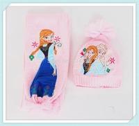 2014 new design Frozen Scarf Hat 2sets /kids Snow Queen Elsa Anna girl scarves Winter warm cap/princess scarf gift for child