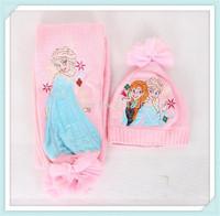 2014 new design Frozen Scarf Hat 50sets /kids Snow Queen Elsa Anna girl scarves Winter warm cap/princess scarf gift for child