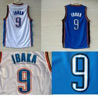 Free Shipping S-XXL Oklahoma 9 Serge Ibaka Basketball Jerseys, Cheap New REV 30 Embroidery Logos Serge Ibaka Basketball Jersey