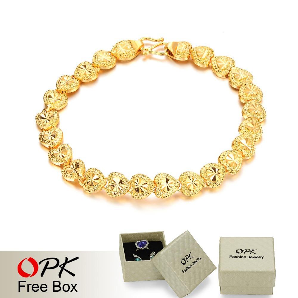 OPK JEWELRY Delicate Pattern 18K Gold Bracelet Jewelry LOVE Heart EU Style Bracelet Made with Environmental