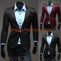 New arrival men suit blazer men coat wine red Korean men cultivating suit free shipping