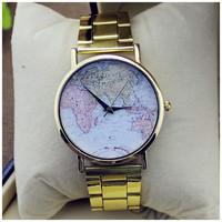 Unisex quartz Watch Map printing picture alloy women rose gold dial dress watch men analog wristwatches Golden Watches Women