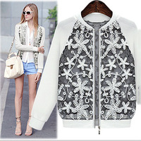 New 2014 Spring/Autumn Women's Unique lace jacket Coat High quality long sleeve Black/White O-neck hollow out Short Outerwear