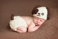 2014 New Design Newborn Baby Girl Boy Photography Props 0-1 years old Children Crochet Costume Cute Dog Cap & Pants For Photo