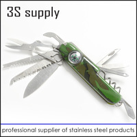 New coming hot camouflage survival knife 11 kinds multifunctional swizerland knife stainless steel rescue knife tool