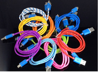 LED Micro 5 pin USB Braided Charger Data Cable for Samsung S3 S4 S5 Note 2 3 1M Light Up Flashing Charging Cords for HTC M7 M8