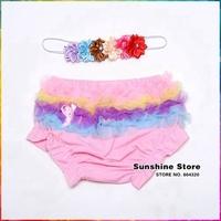 Baby Ruffle Bloomers 6 pcs Flower Headbands Set,Cute Toddler Clothing Set,Cotton Tampa Fralda,Grils Hair Band,#3T0014 3 Set/lot