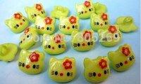 500 PC lovely children green hello Kitty Plastic Button