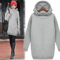 Europe Autumn Winter Fleece Sweater With High Collar Hedging Long Section of Large Size Women Thick Solid Color Hooded Sweater
