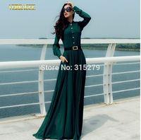 New 2014 autumn winter women vintage fashion green chiffon long sleeve dress floor length pocket plus size elegant brand dresses