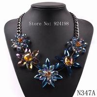 2014 new model fashion black chain brand bib statement pendant crystal flower luxury necklace for women autumn elegant jewelry