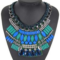 New fashion designer chunky knit short paragraph statement geometric arrangement resin pendant necklace women jewelry NK737
