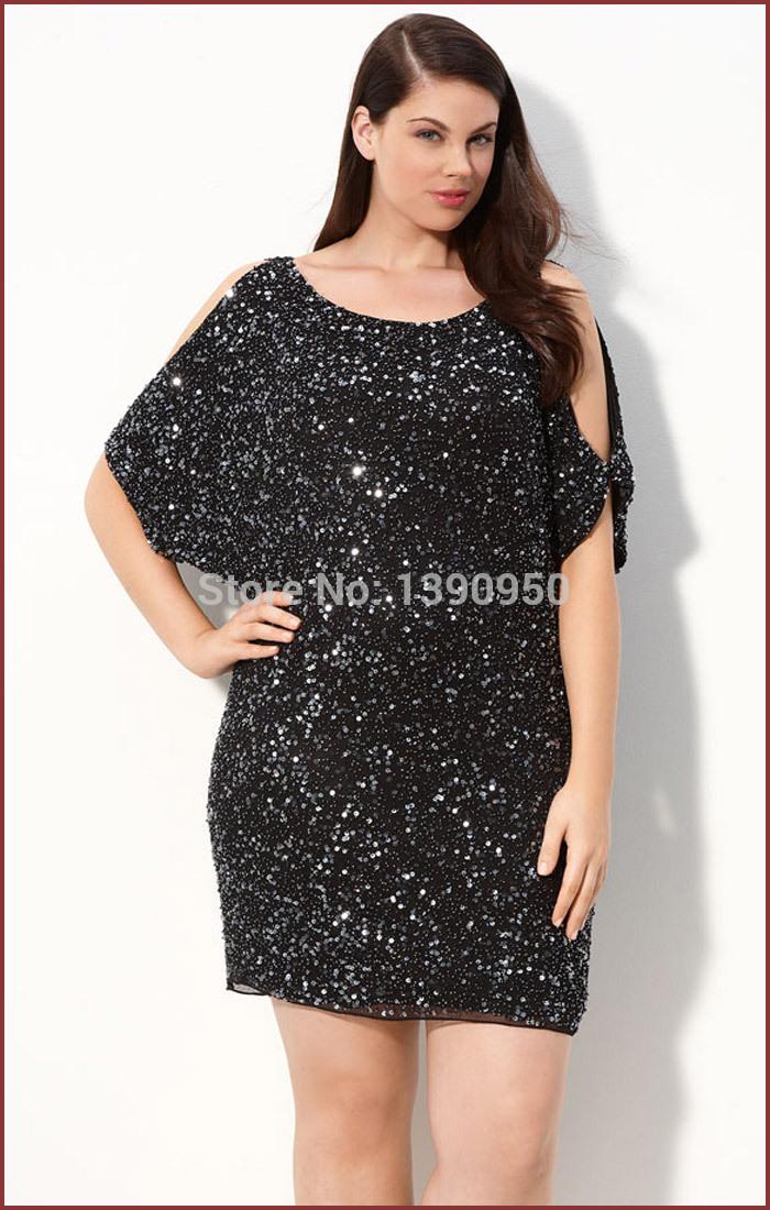 Plus size short black sequin dress