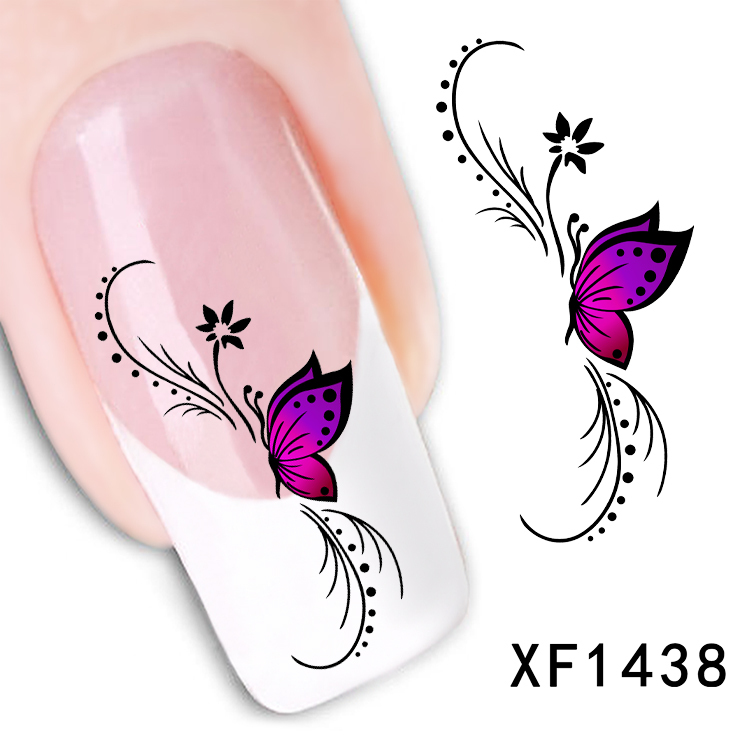 DIY pink butterfly Tip Nail Art Nail Sticker Nails Decal Manicure nail ...