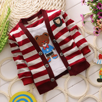 SAlE baby clothing 2014 new arrival 100% cotton boys top long sleeve t-shirts cartoon baby coat stripe kids chothes autumn HT002