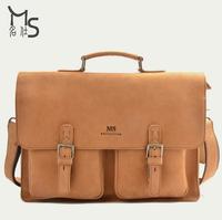 Guarantee 100% Crazy horsehide Genuine Brand Handmade Upscale Fashion Men's genuine leather handbag retro