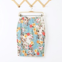 2014 autumn Brand New women vintage Flower Print skirts pencil skirt  fashion casual skirts free shipping