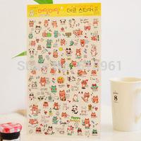 5sets/lot Korea Stationery Cute PVC Diary Sticker For Scrapbooking Kids Children Transparent DIY Decorative Stickers Wholesale