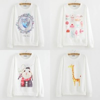 2015 NEW Fashion Printed Owl Sweatshirt Women Hoodies Casual Icecream Pullovers Moleton Feminino Sudaderas