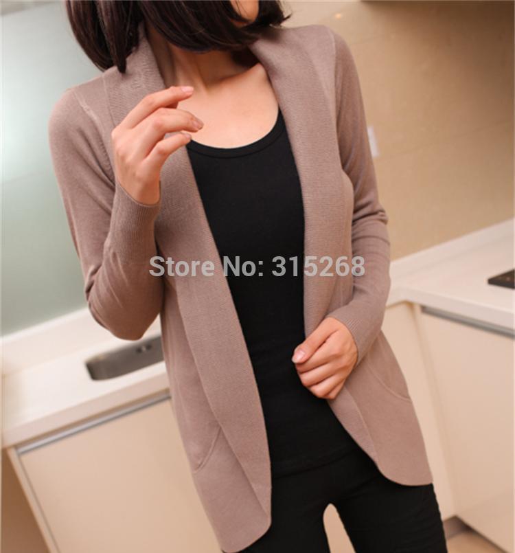 2014 new fashion women knitted sweater cardigan outerwear shawl long sleeve jacket knitwear coats Free shipping C022(China (Mainland))
