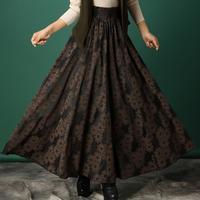 2014 Autumn and winter skirt women vintage pleated wool skirt floral print slim elegant long skirt