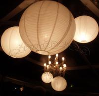 "Free shipping (10X) Round 16"" (40 cm ) white paper lanterns lamp Wedding Party round lanterns with Led LED mini Party Light"