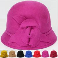 2014 New England temperament retro flowers wool hat female winter wool hat  elegant dome basin  M-001
