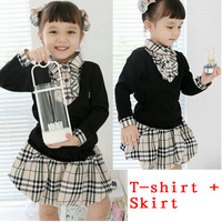 Free Shipping 2014 New Design Girls Plaid Clothing sets kids classics Skirt Suits Baby Shirts + Skirts Casual Clothes set