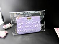 Free Shipping Purple Bag Woman Handbag Plastic Crystal Transparent Bag Adding Other bag Inside Free